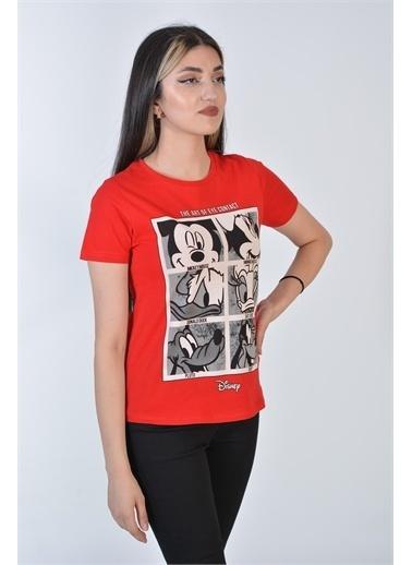 Zeren Kadın Kırmızı Karakter Baskılı Tişört Kırmızı